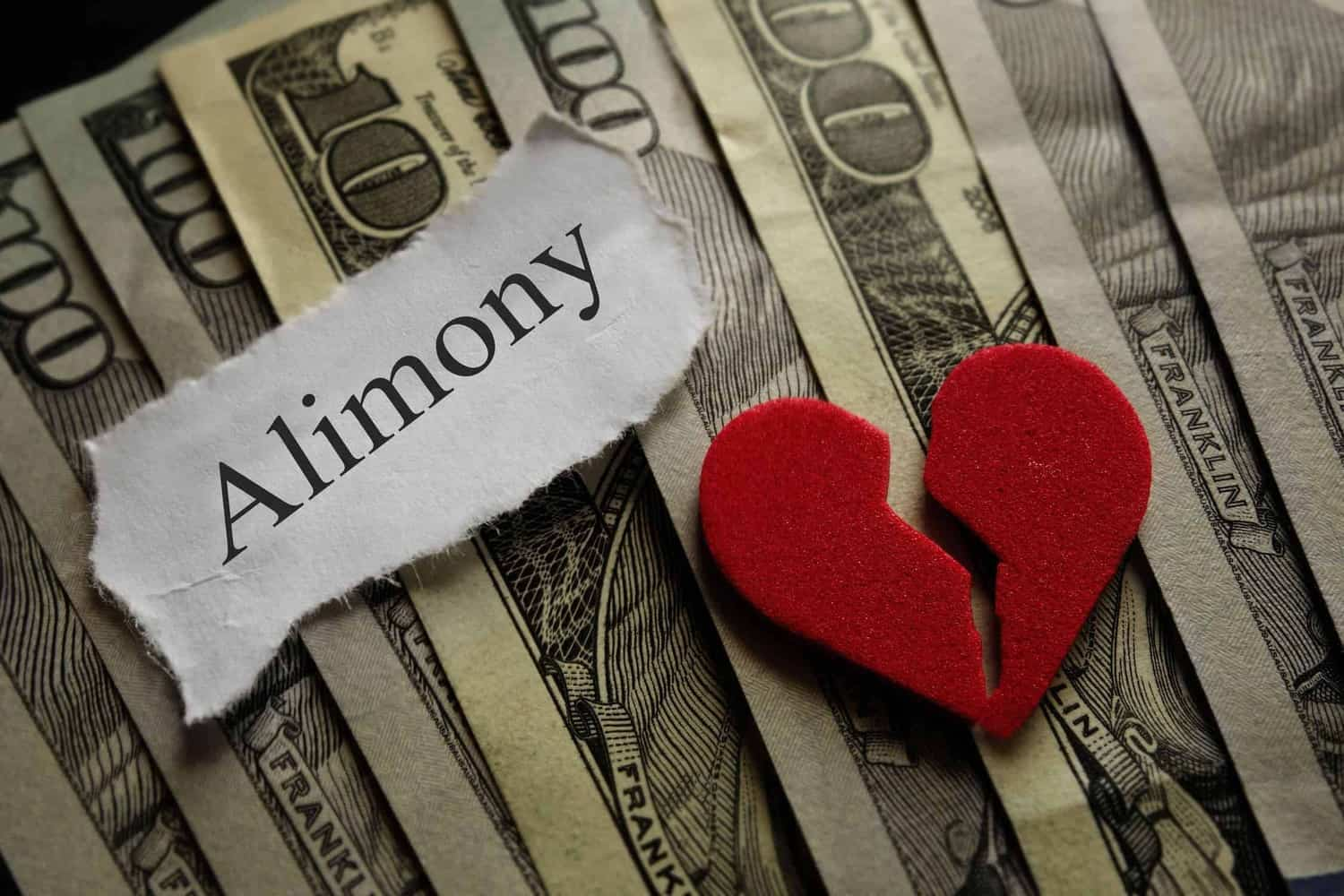"""Stack of $100 bills with """"alimony"""" label and a broken heart."""