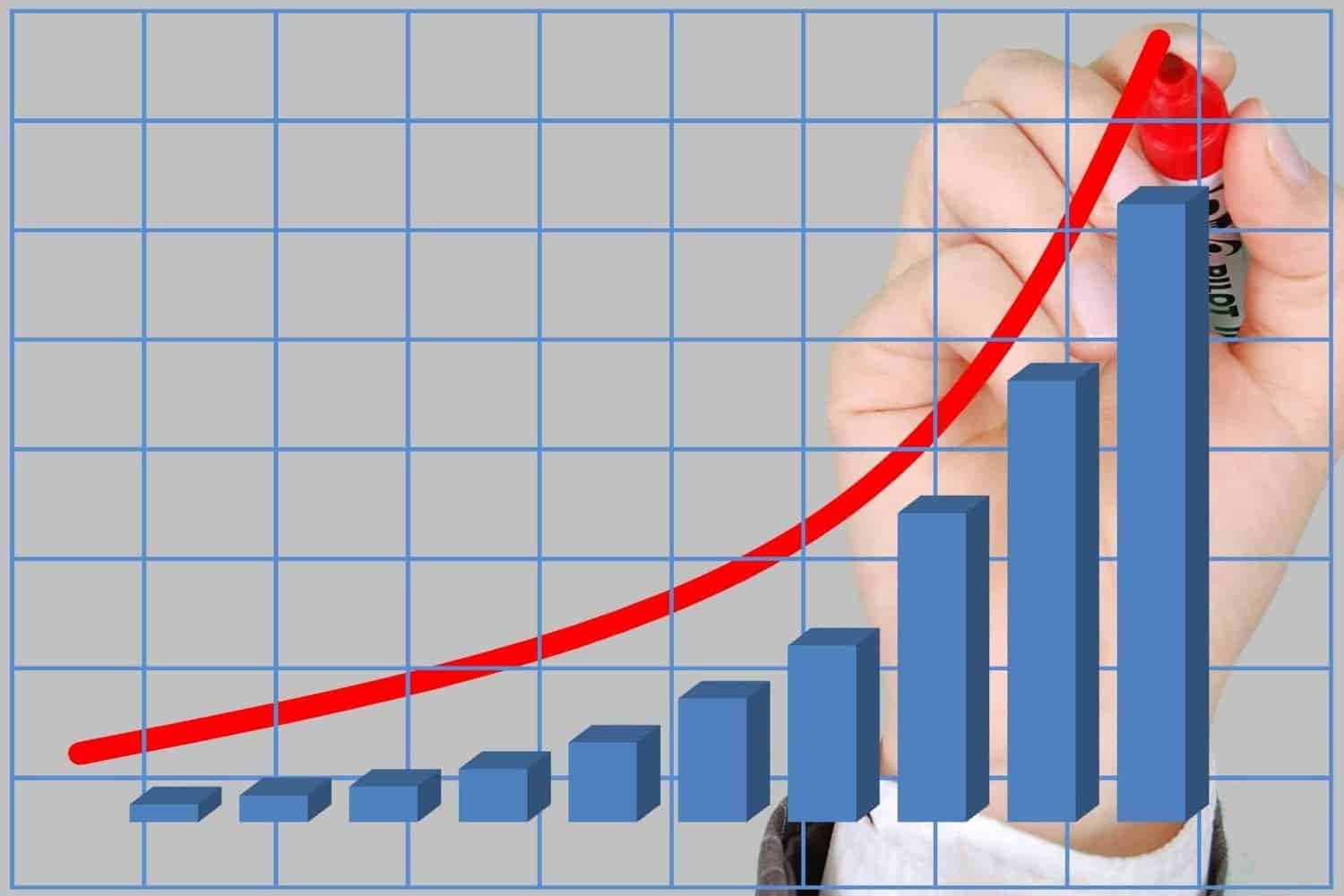 Hand drawing red line above bar chart.