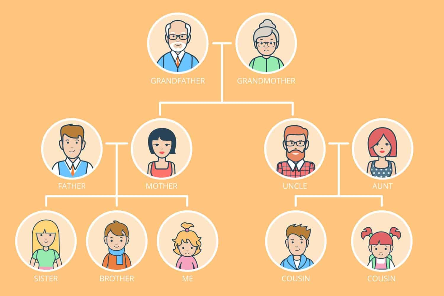 A family tree with three generations.