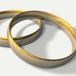 Two wedding bands on a white background.