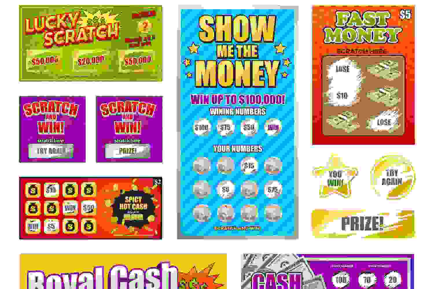 Depictions of lottery scratch tickets.