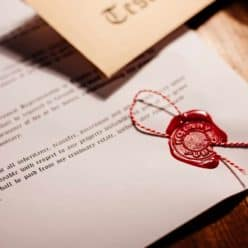 A notary wax seal on a document.