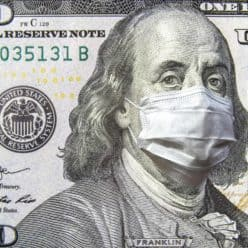 $100 Bill with a virus mask over Ben Franklin's face.