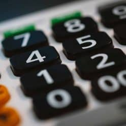 Close-up of buttons on a calculator.