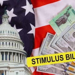 Collage including U.S. Capitol and stimulus bill cash.