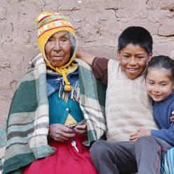 Native American grandmother with her grandchildren
